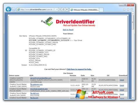 Screenshot Driver Identifier para Windows 7