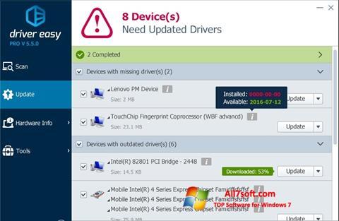 Screenshot Driver Easy para Windows 7
