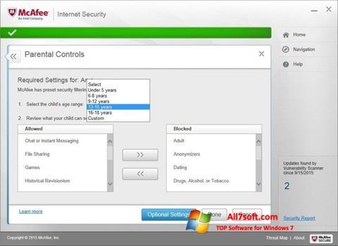 Screenshot McAfee Internet Security para Windows 7