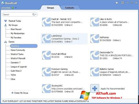 Screenshot RaidCall para Windows 7