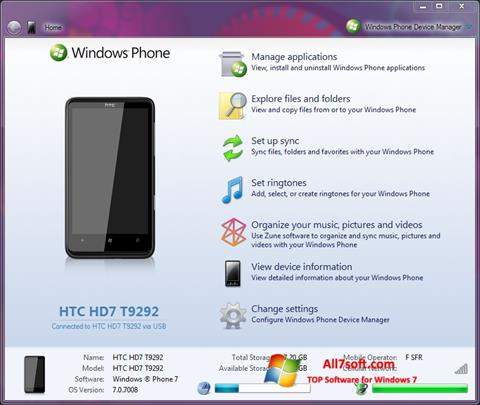 Screenshot Windows Phone Device Manager para Windows 7