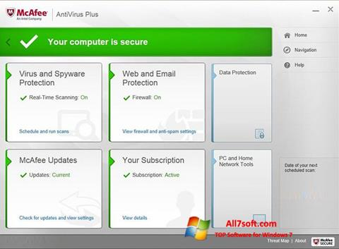 Screenshot McAfee AntiVirus Plus para Windows 7