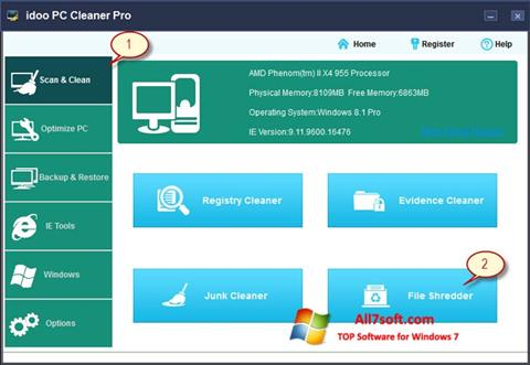 Screenshot PC Cleaner para Windows 7