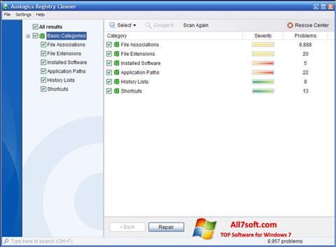 Screenshot Auslogics Registry Cleaner para Windows 7
