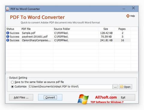 Screenshot PDF to Word Converter para Windows 7