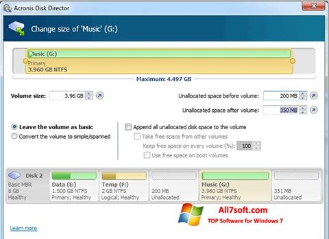 Screenshot Acronis Disk Director para Windows 7