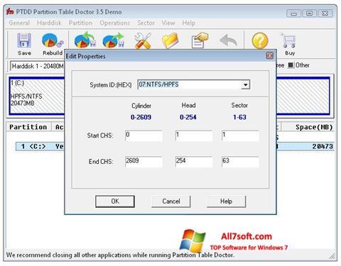 Screenshot Partition Table Doctor para Windows 7