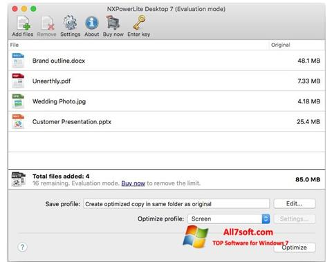 Screenshot NXPowerLite para Windows 7
