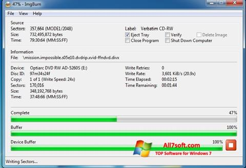 Screenshot ImgBurn para Windows 7