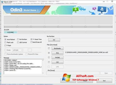 Screenshot Odin para Windows 7