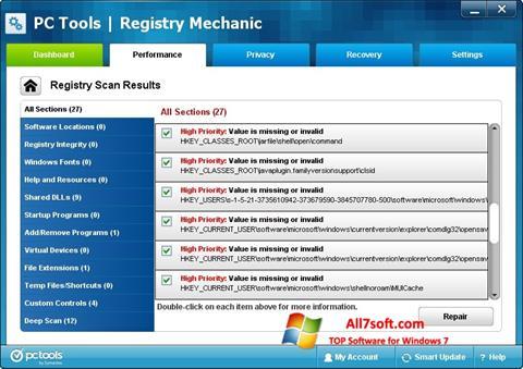 Screenshot Registry Mechanic para Windows 7