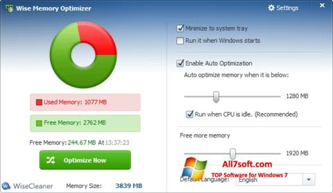 Screenshot Wise Memory Optimizer para Windows 7