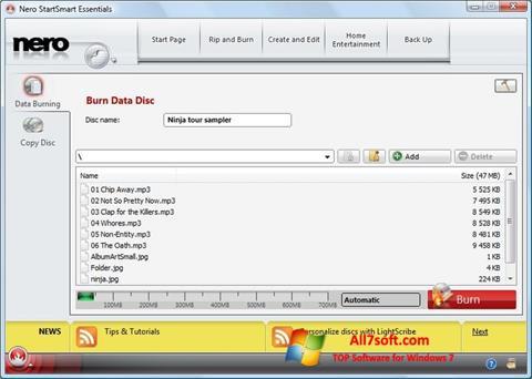 Screenshot Nero Lite para Windows 7