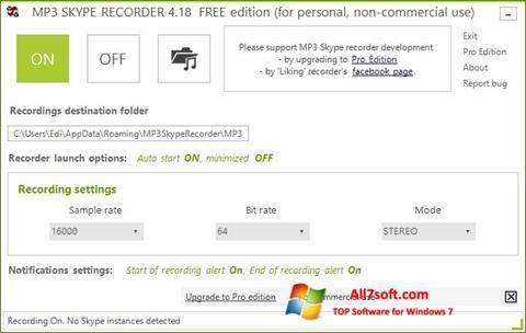 Screenshot MP3 Skype Recorder para Windows 7