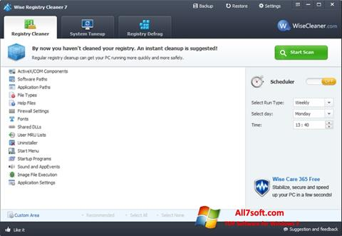 Screenshot Wise Registry Cleaner para Windows 7