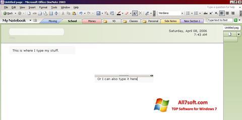 Screenshot Microsoft OneNote para Windows 7