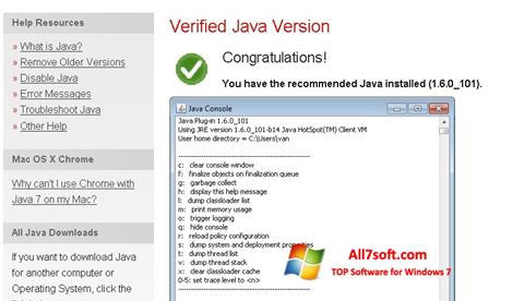 Screenshot Java para Windows 7