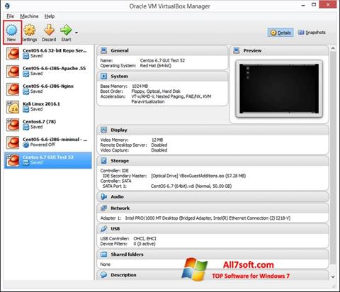 Screenshot VirtualBox para Windows 7