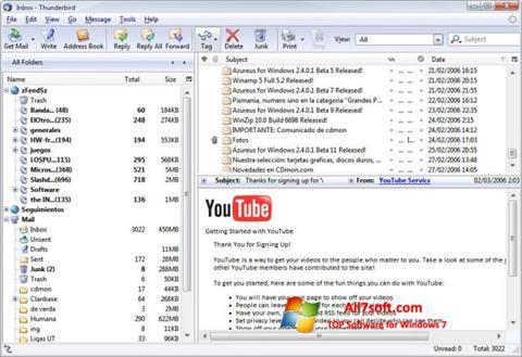 Screenshot Mozilla Thunderbird para Windows 7
