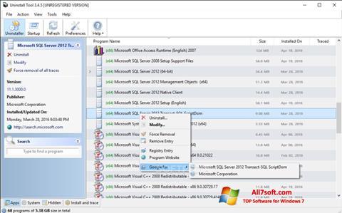 Screenshot Uninstall Tool para Windows 7