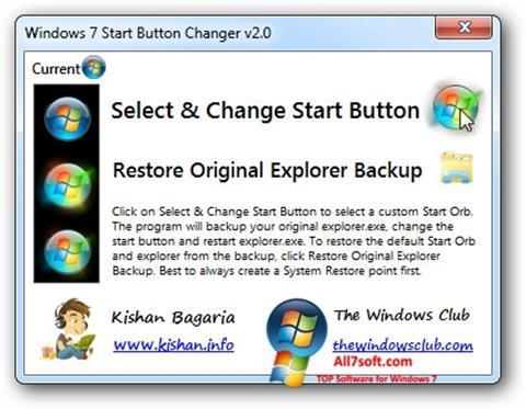 Screenshot Windows 7 Start Button Changer para Windows 7