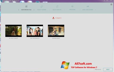 Screenshot Wondershare Filmora para Windows 7